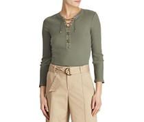 Ralph Lauren Women's Ribbed Lace-Up Top, Olive