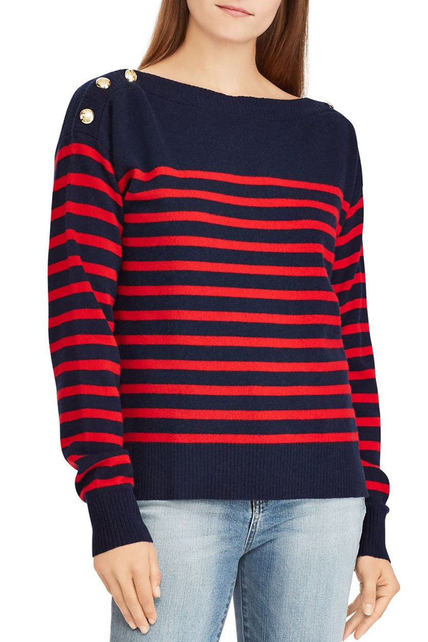 Women's Arimelle Cashmere Striped Sweater, Navy/Red