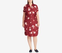 Ralph Lauren Women's Plus Size Floral Print Dress, Maroon