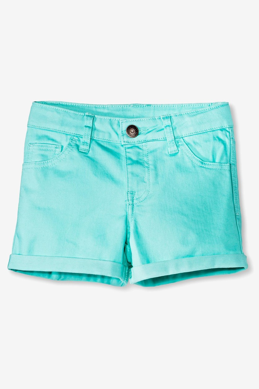 Big Girls Basic Shorts, Turquoise