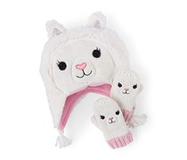 The Children's Place Girls' Lama Themed Cold Weather Set, White/Pink