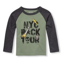 The Children's Place Toddler Boy Long Sleeve Graphic Print Top, Olive Press