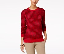 Charter Club Crew-Neck Windowpane-Print Sweater, Red Amore