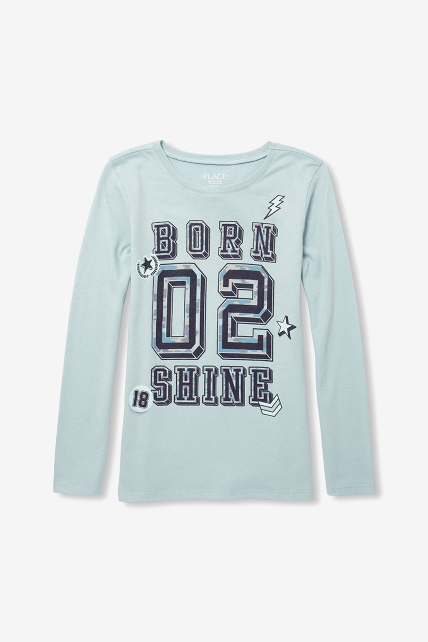 Girls Long Sleeve Graphic Tee, Frosty
