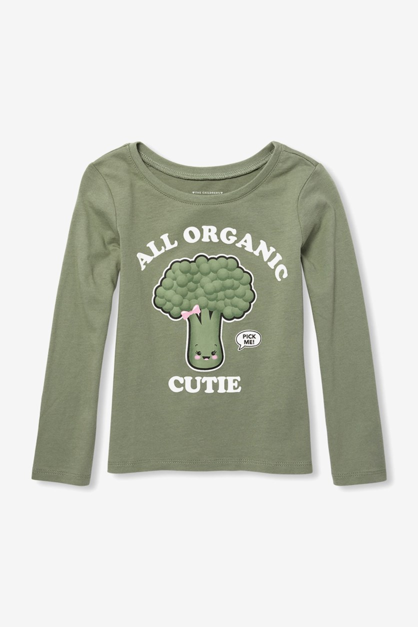 Baby Girls Graphic Tee, Olive Press