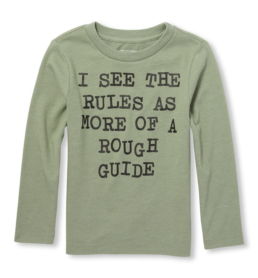 Toddlers Long Sleeve Tops, Olive Press