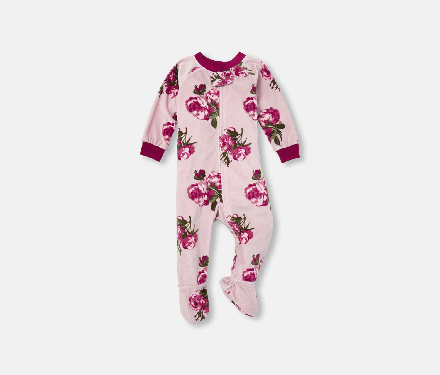 Rose Print Footed Blanket Sleeper, Haze