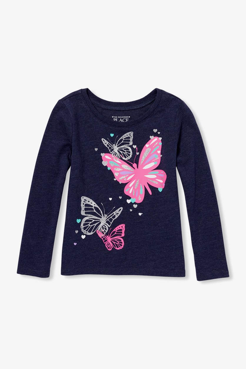 Kid's Girl Butterfly Tee, Evening Blue