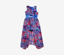 Bloome De Jeune Fille Big Girls Chiffon Floral Romper, Blue