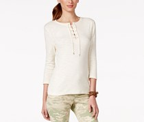 American Living Women's Lace-Up Top, Beige