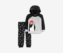 Carter's Toddler Boys 2-Pc. Penguin Hoodie & Pants Set, Black/Grey Heather