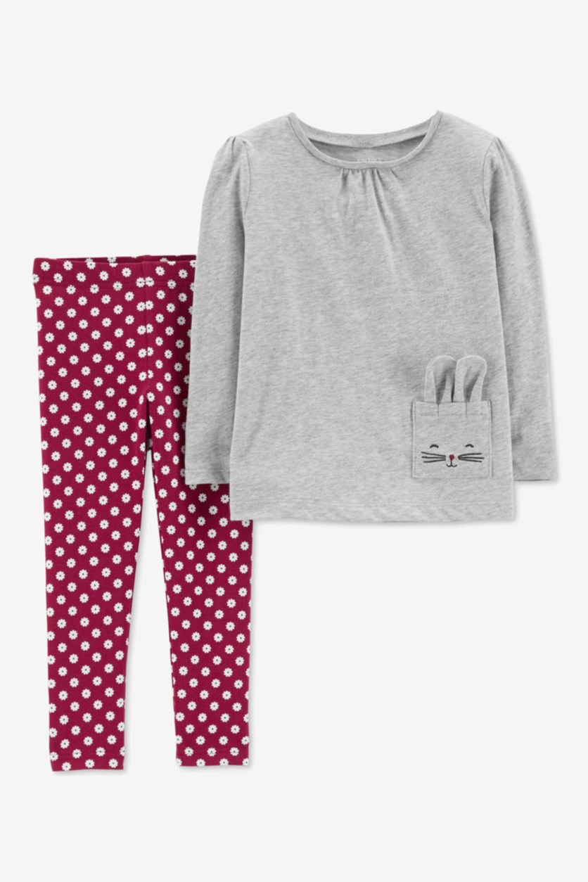 Carter's Baby Girls 2-Pc. Pocket Top & Floral-Print Leggings Set, Gray/Maroon