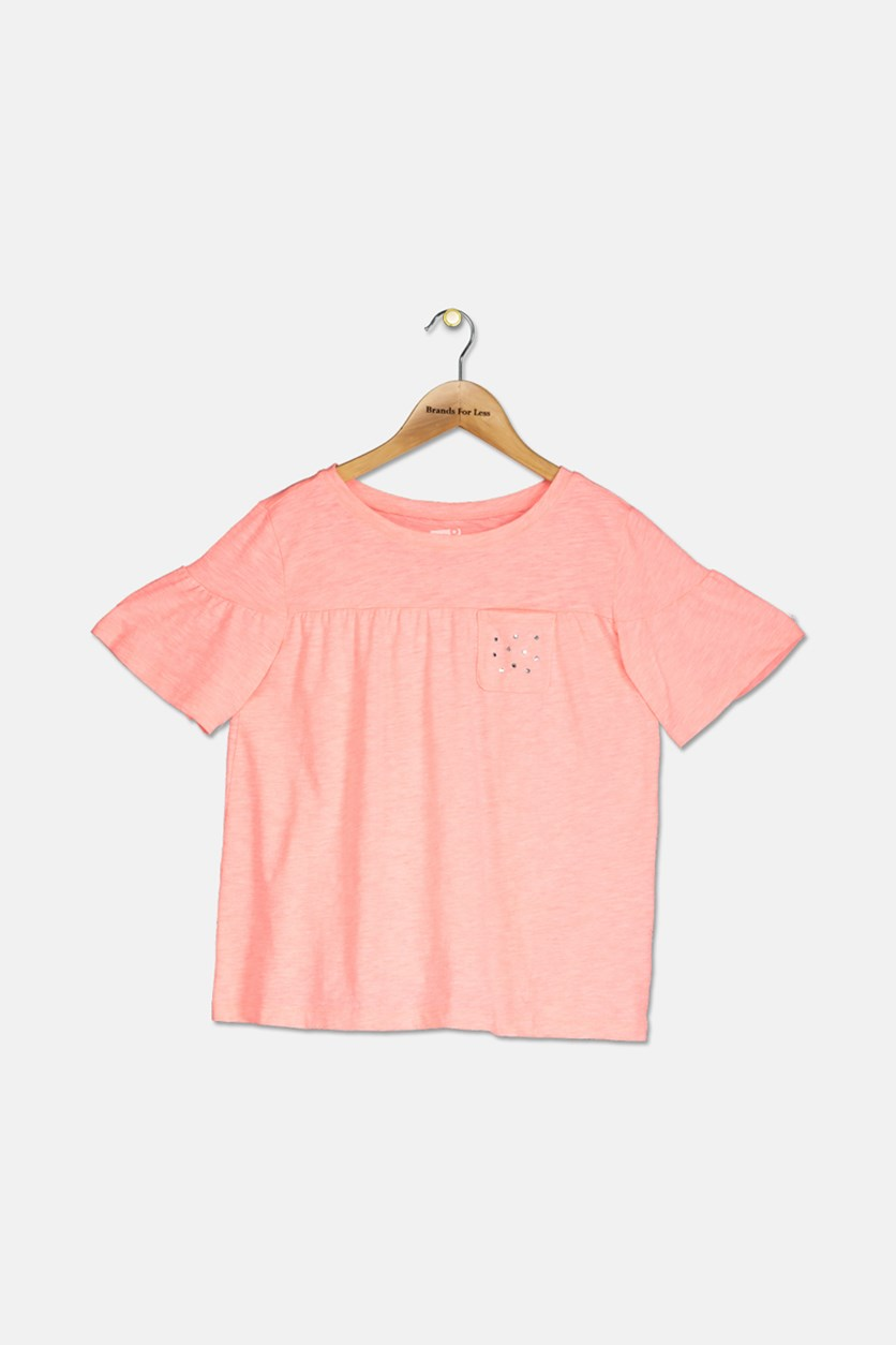Kids Girls Studded Chest Pocket Top, Neon Coral