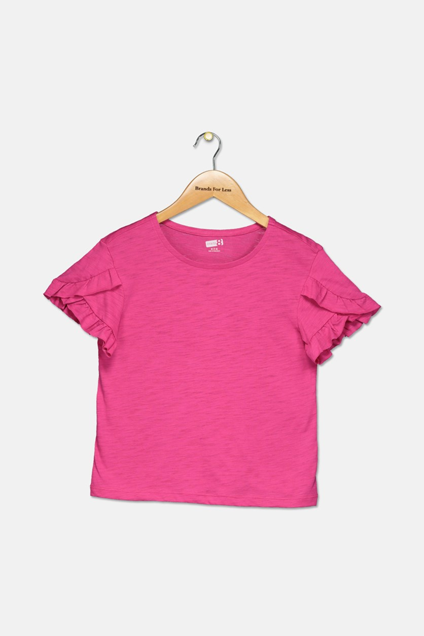 Kids Girl's Ruffled Sleeve Tee, Pink