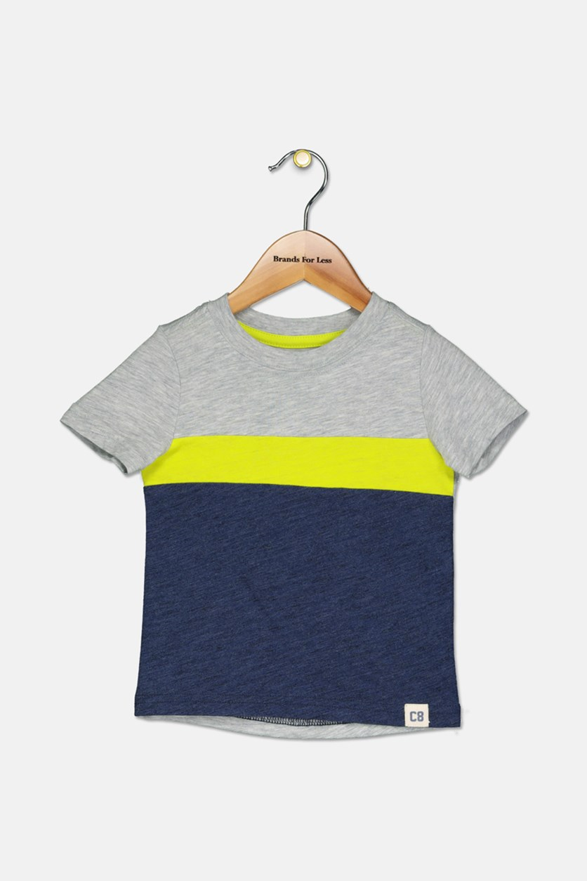 Little Boys Colorblock Tee, Grey/Lime Green/Navy