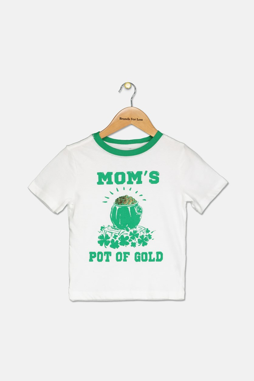 Little Boy's Graphic Printed Top, White/Green
