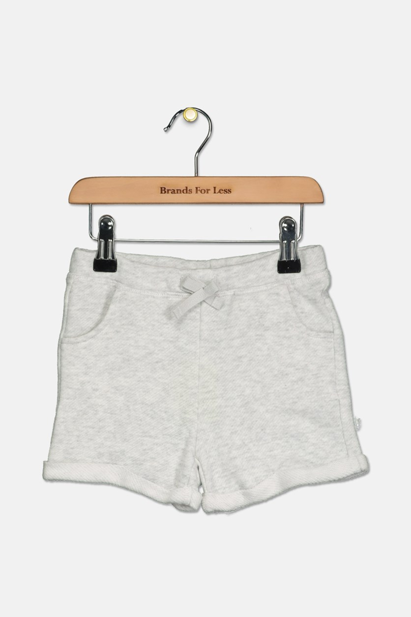 Little Girls Cuffed Hem Shorts, Light Grey