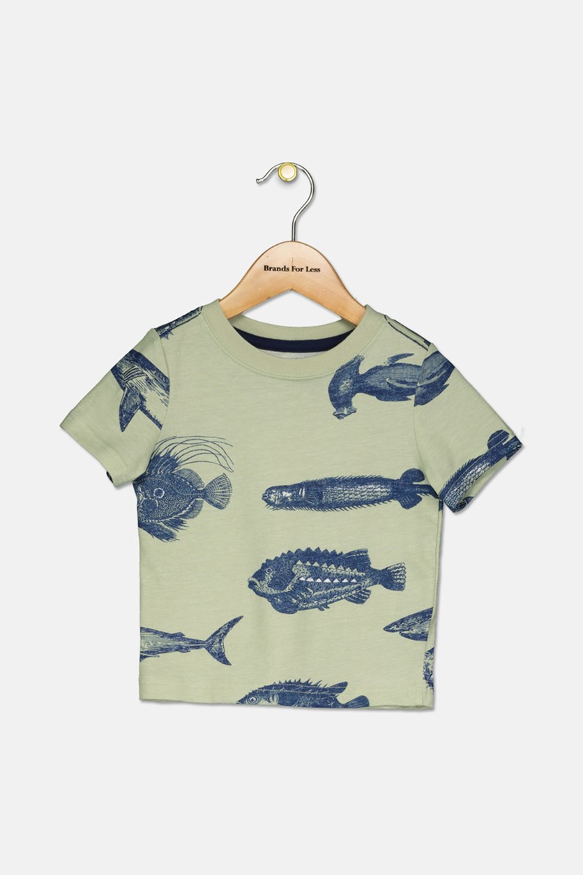 Little Boys Fish Graphic Tee, Light Green/Navy
