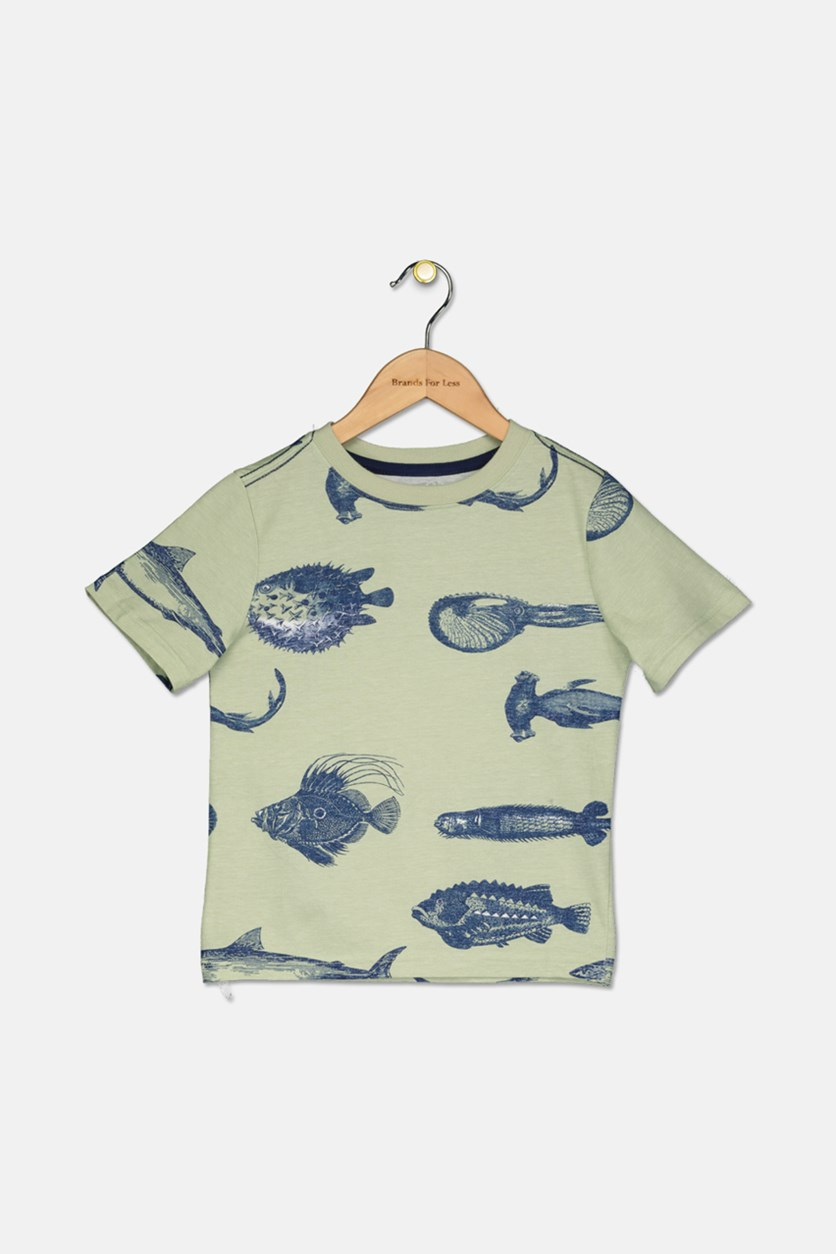 Boys Fish Graphic Tee, Light Green/Navy