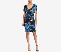 Ralph Lauren Women's Petites Floral Jersey Dress, Black/Blue/White