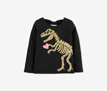 Carter's Girls Glitter Dino Graphic Cotton Shirt, Black