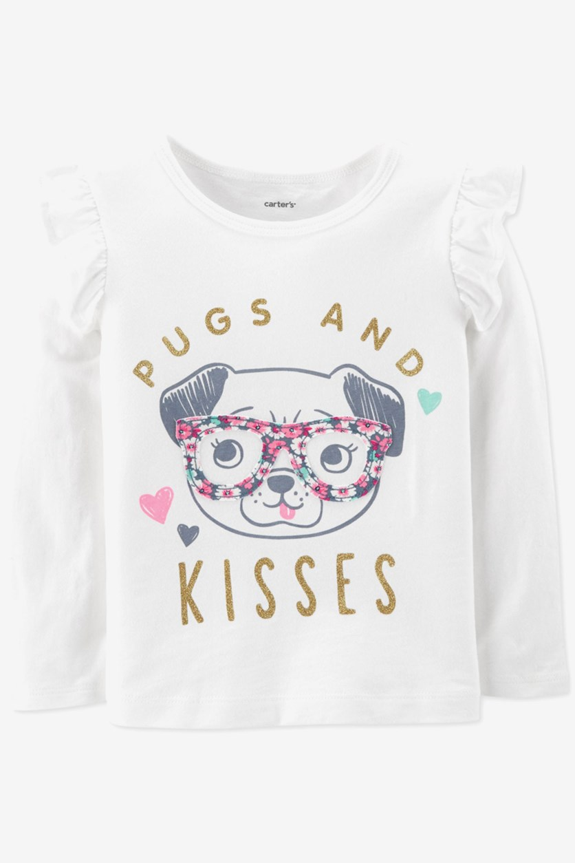Toddler Girls Pugs and Kisses T-Shirt, Ivory