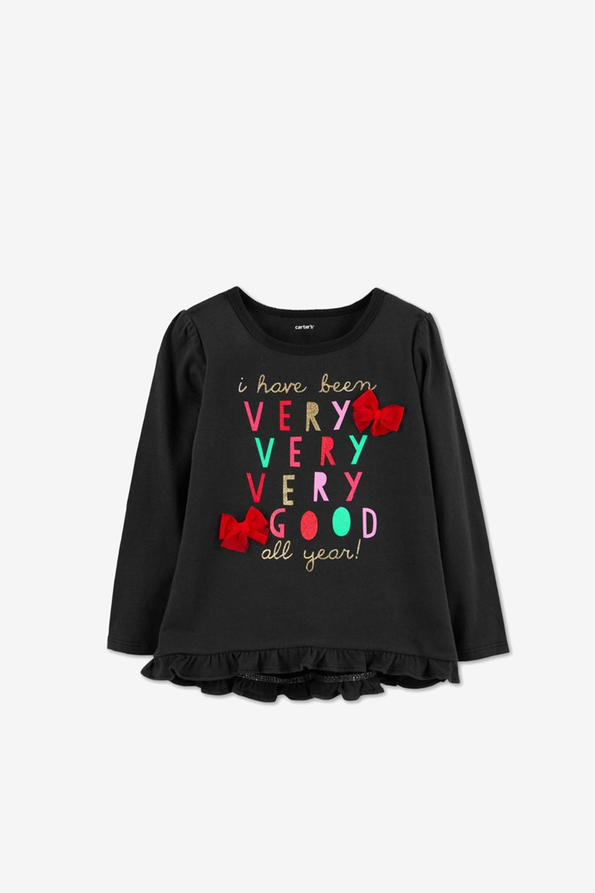 Carter's Toddler Girls' Long Sleeve I Have Been Good Tee, Black