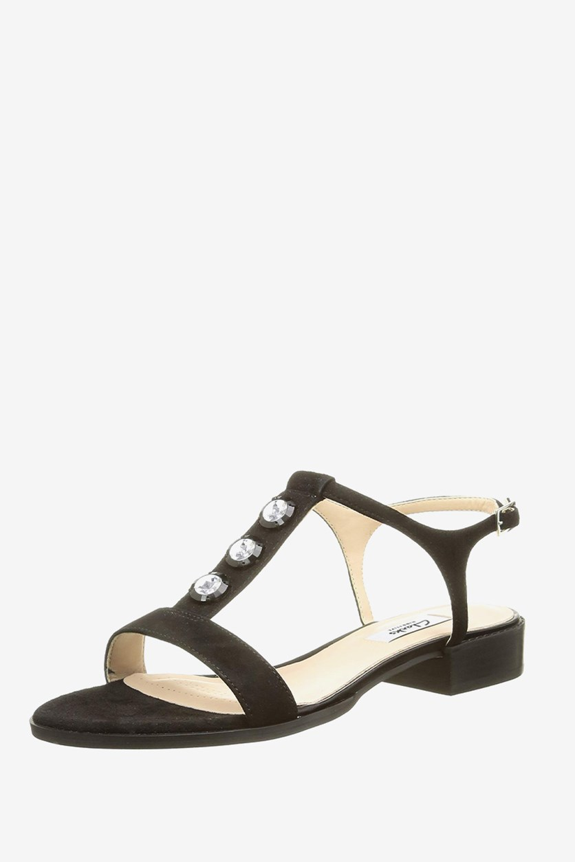 Women's Bliss Shimmer Sandals, Black Leather