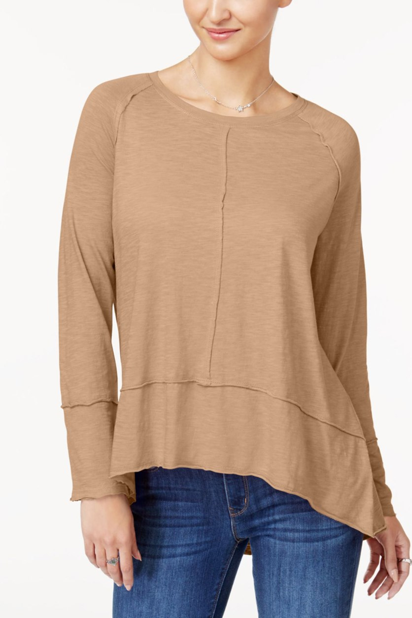 Women's Cotton High-Low Top, Natural Blush