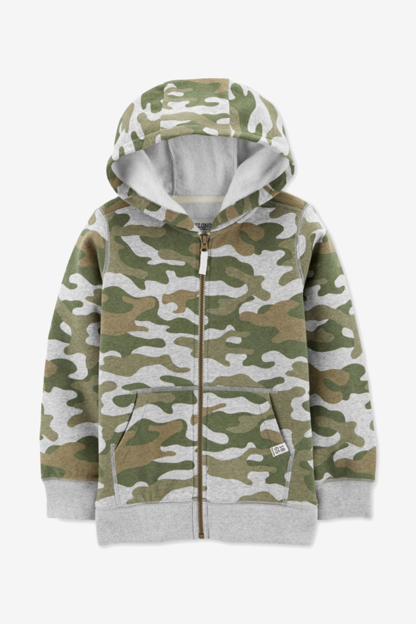 Kids Boys Full-Zip Camo Fleece Hoodie, Olive/Green