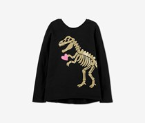 Carter's Girl's Glitter Dinosaur Criss Cross Tee, Black