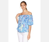 Lilly Pulitzer Women's Sain Off-The-Shoulder Top, Blue Combo