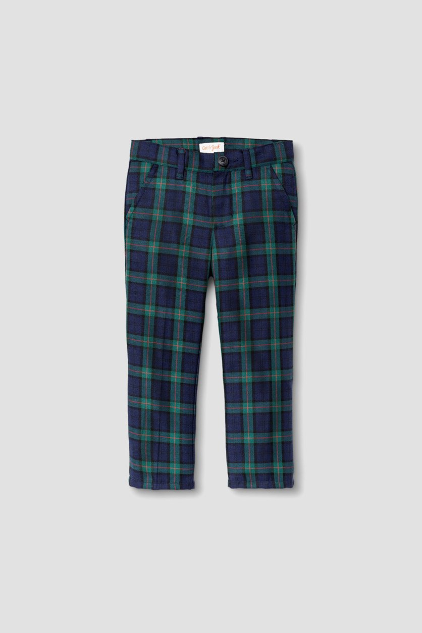 Baby Boy's Navy Plaid Adjustable Waist Pants, Blue/Green