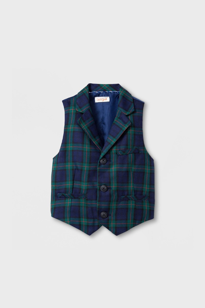 Baby Boys Plaid Vest, Navy/Green