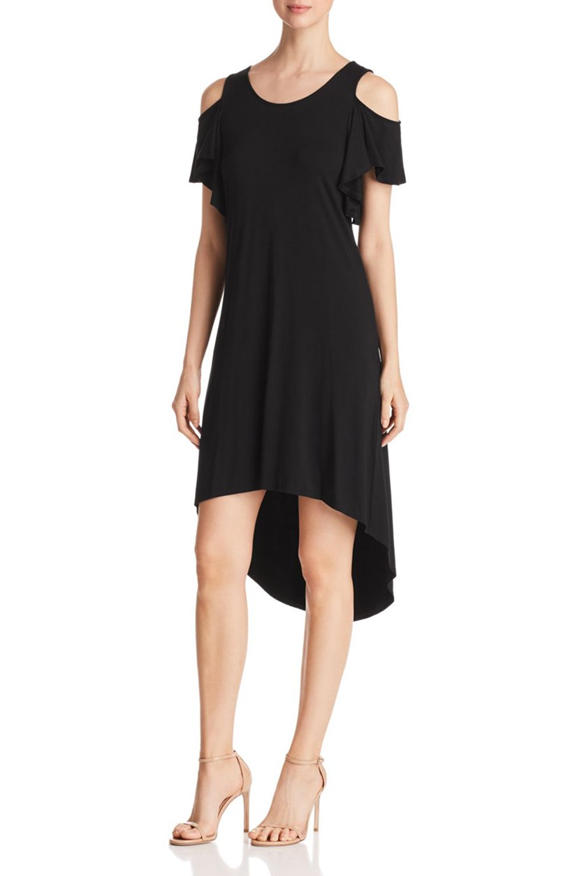 Cold-Shoulder High/Low Dress, Black