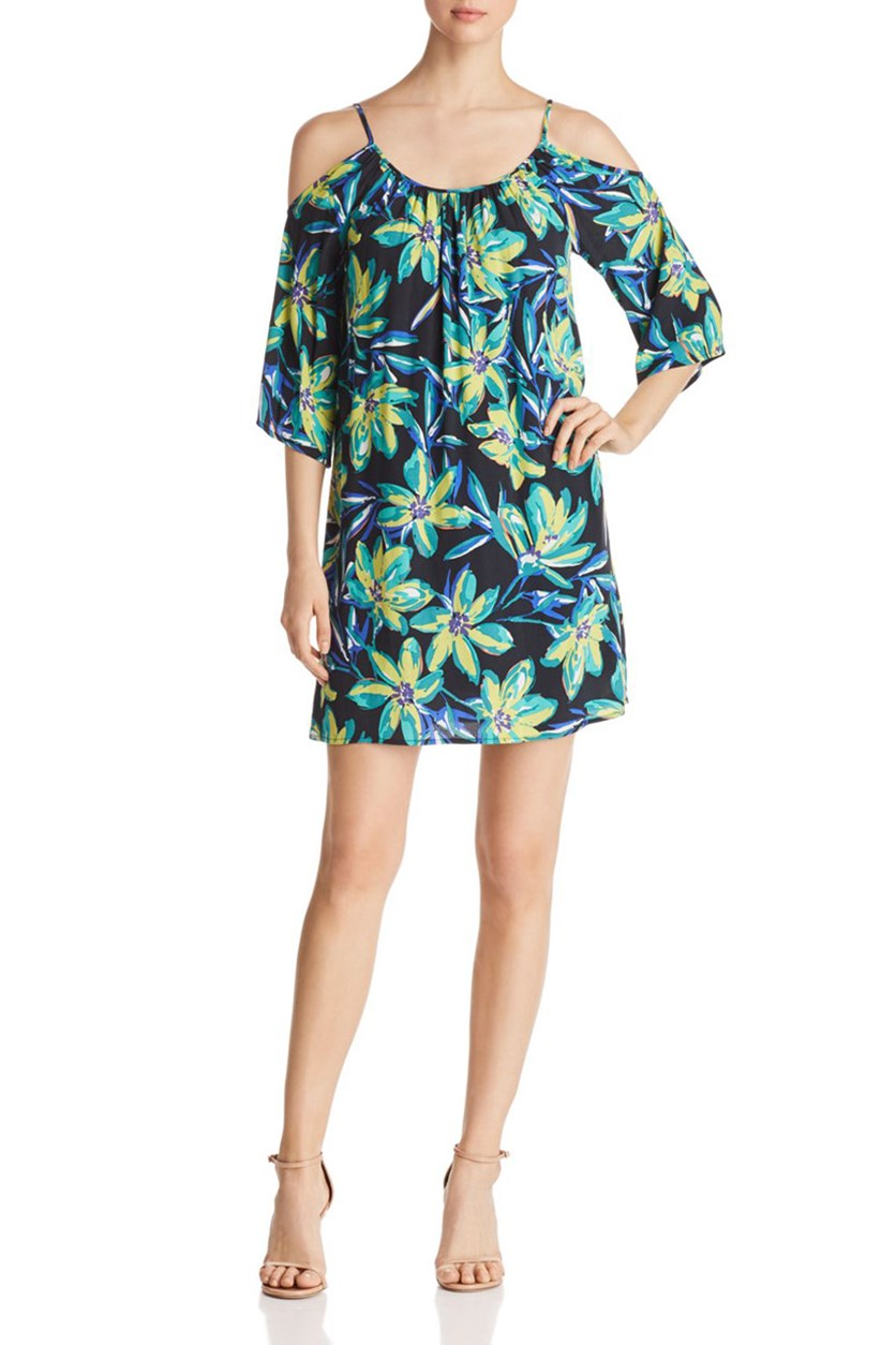 Women's Cold Shoulder Floral Print Dress, Floral