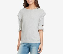 William Rast Women's Ruffled Cutout-Sleeve Sweatshirt, Grey