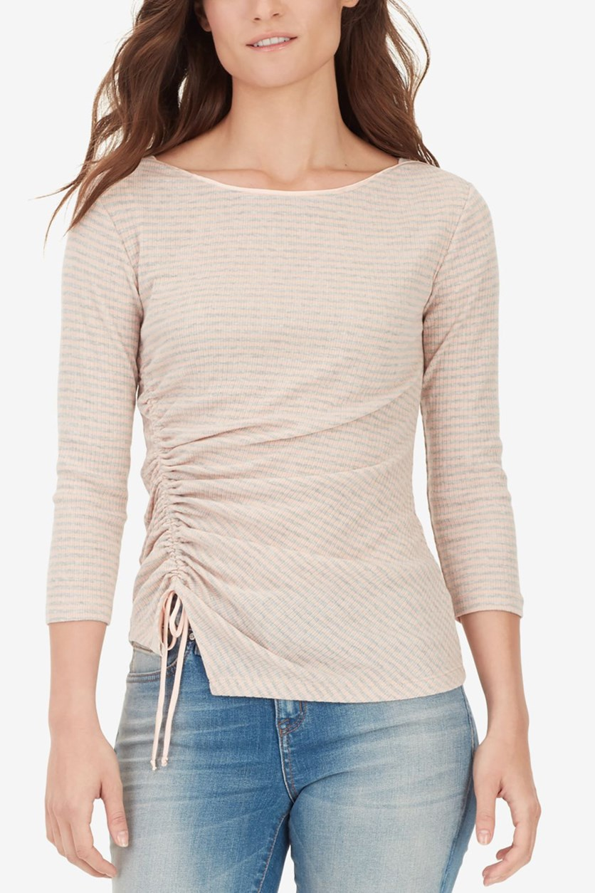 Women's Ruched Striped T-Shirt, Rose Cloud Stripe