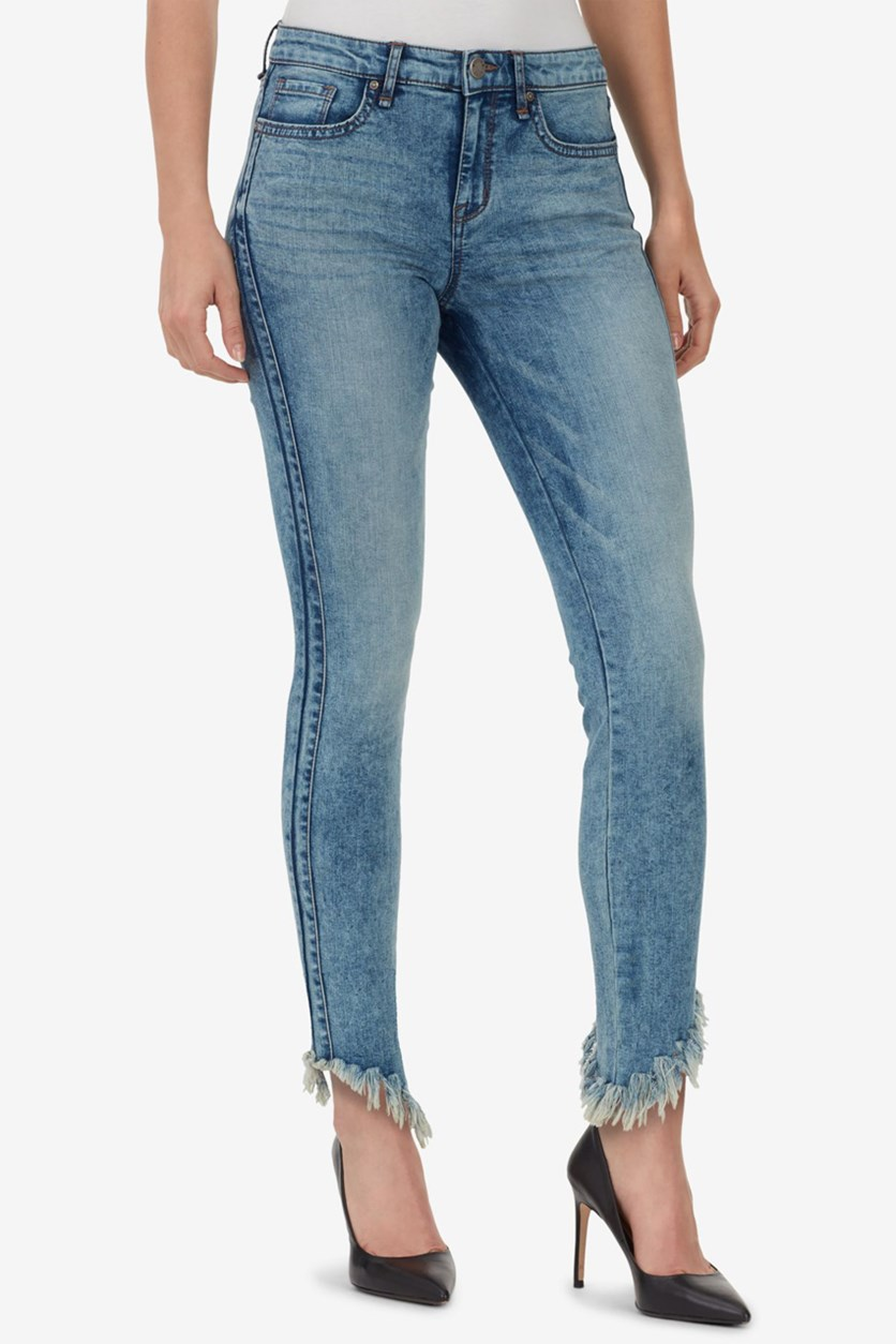 Women's Perfect Skinny Frayed Ankle Jeans, Blue Washed