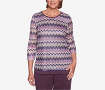 Alfred Dunner Women's Petite Victoria Falls Zig-Zag Jacquard Top, Maroon/Pink/Violet/Yellow