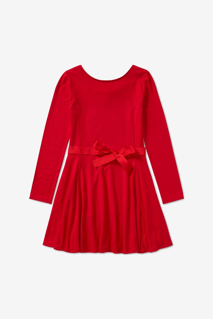Big Girls Fit Flare Dress, Red