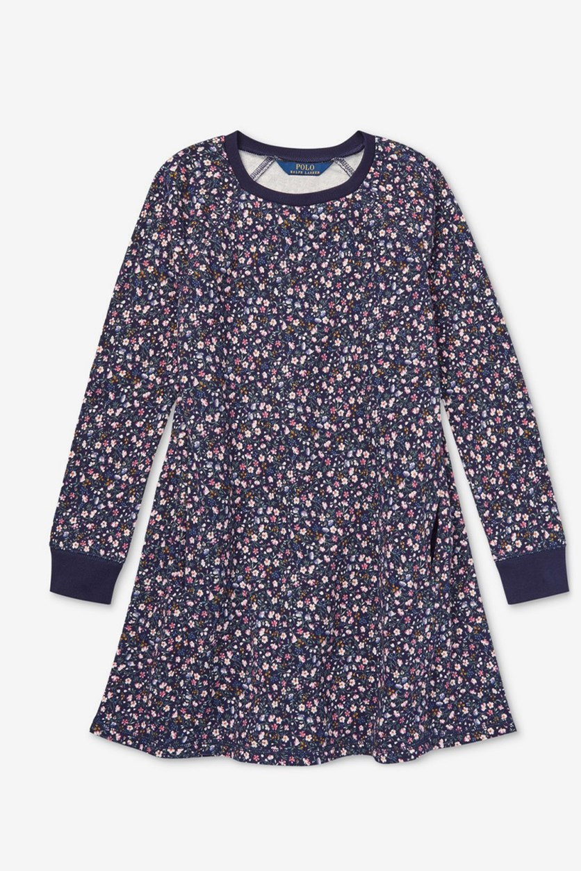 Girls Floral-Print Cotton French Terry Dress, Navy Combo
