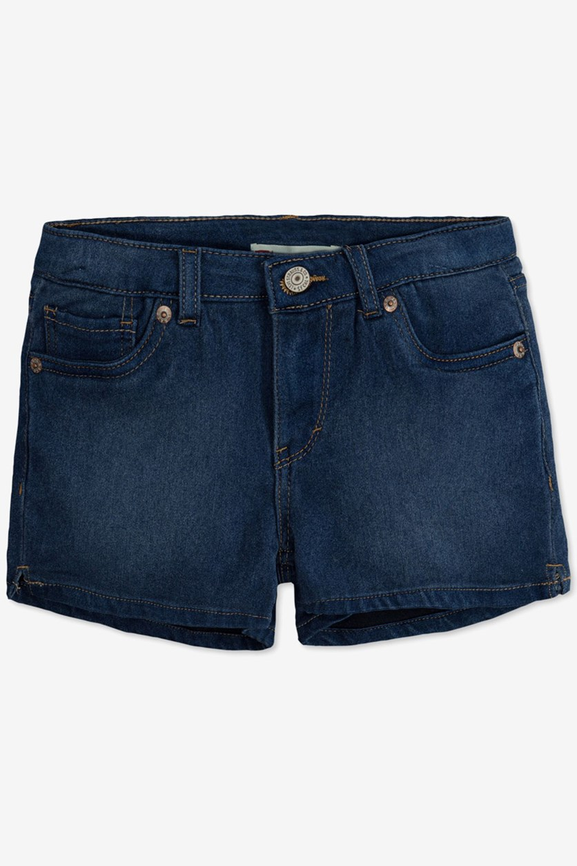Little Girl's Everyday Shorty Shorts, Medium Indigo