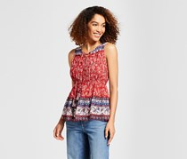 Women's Shirred Lace-Up Tank, Red Combo
