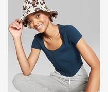 Wild Fable Women's Button Front Waffle T-Shirt, Navy