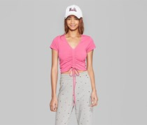 Women's Short Sleeve Ruched Front Top, Pink
