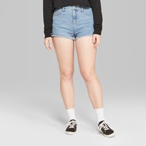 Women's High-Rise Frayed Hem Denim Shorts, Light Wash