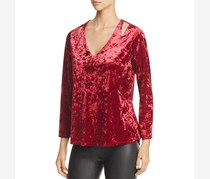 Women's Velvet Cut-Out Pullover Top, Burgundy