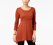 Style & Co Embroidered Sweater Tunic, Auburn