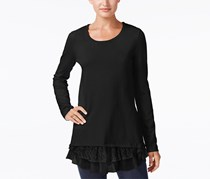 Style Co Mixed-Media Tunic Sweater, Deep Black